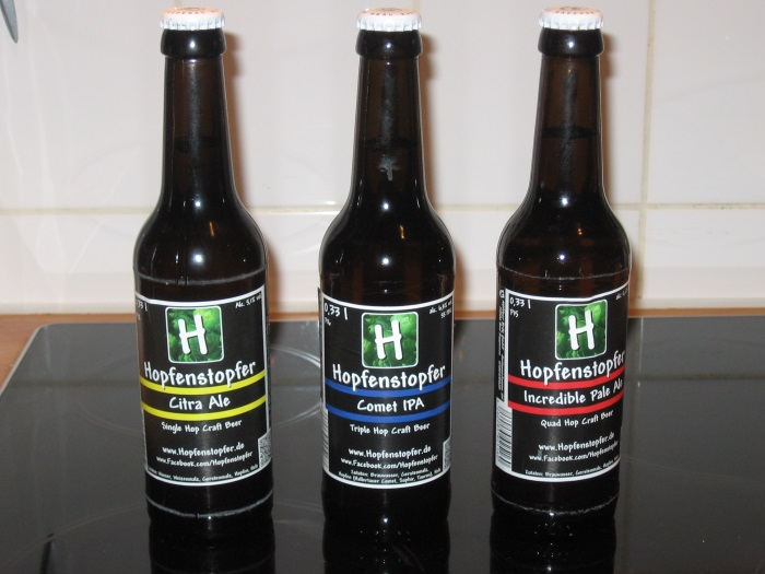 Hopfenstopfer Biere: Citra Ale, Incredible Pale Ale, Comet IPA